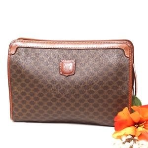 Auth Celine Macadam Clutch Bag #773O34